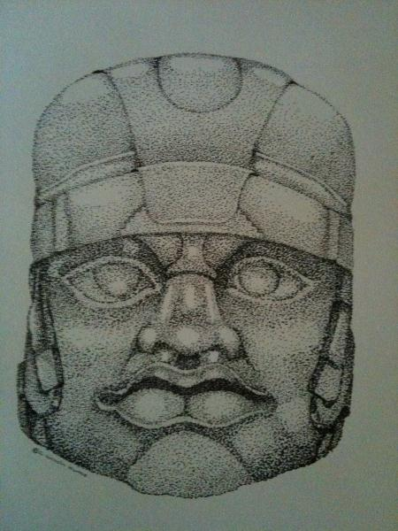 Olmec stone sculpture drawing by c lincoln humes