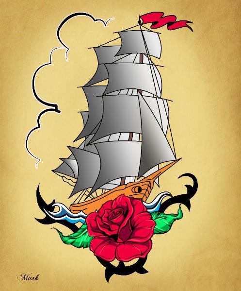 Old Ship Tattoo