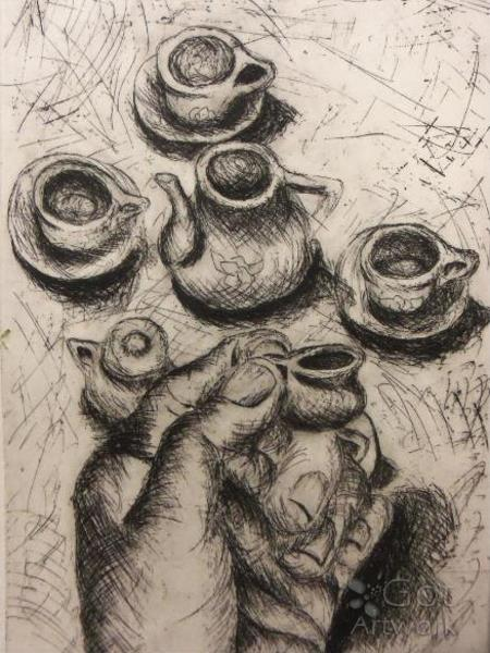 """Tiny Tea Set"" Artist Print"