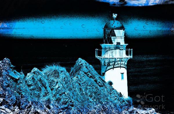 Midnight Blue Lighthouse