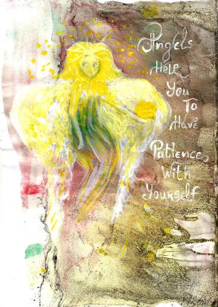 Angels Help You To Have Patience With Yourself, INSPIRATIONAL Art, Original Acrylic Painting, Illustration Of Guardian Angel Quote