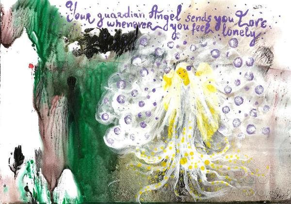 Illustration Of Guardian Angel, INSPIRATIONAL Quote, Your Guardian Angel Sends You Love Whenever You Feel Lonely, Original Acrylic Painting