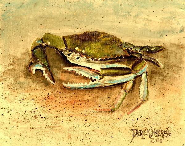 Crab Painting Square Art Print