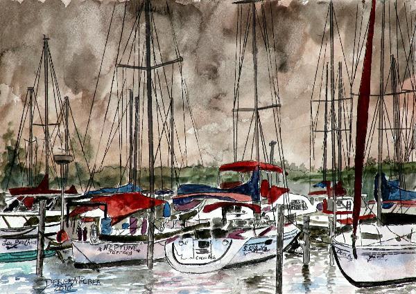 Sailboats Painting Art Print