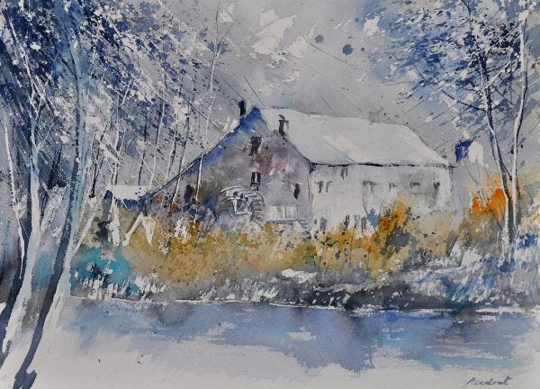 Watercolor Old Mill