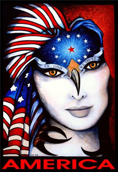 America Portrait of A Woman with Big White Face and Flag Over Head