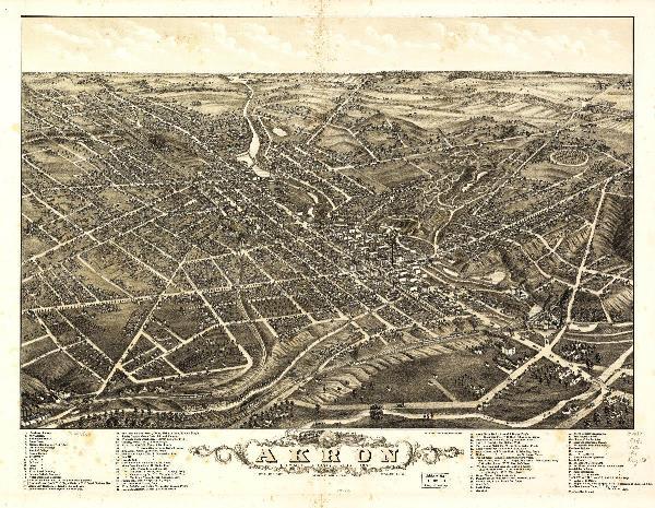 Aerial View Of Akron, Ohio (1882)