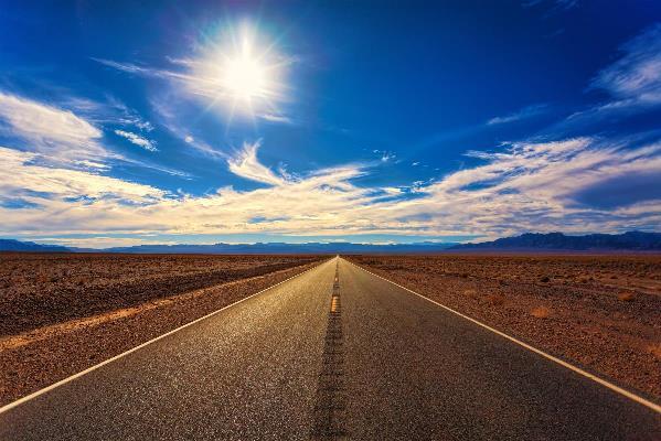 Desert Road On A Sunny Day