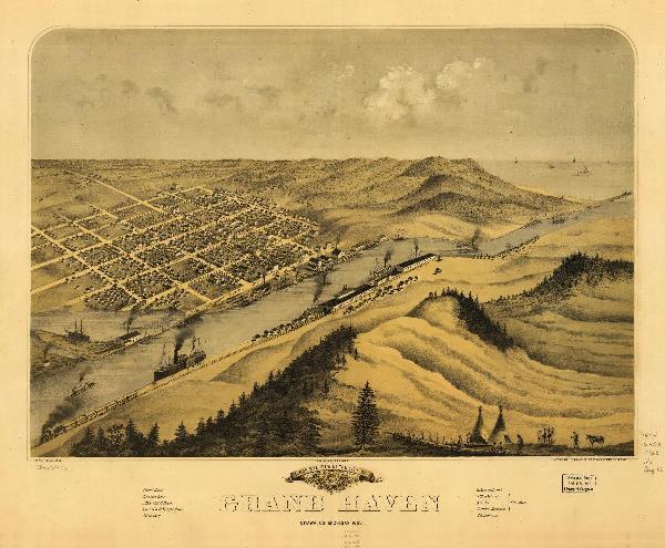 Bird's Eye View Of Grand Haven, Michigan (1868)