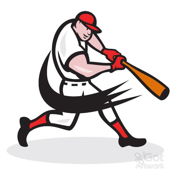 Baseball Player Batting Isolated Cartoon Digital Art By
