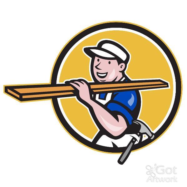 Carpenter Worker Carrying Timber Circle Cartoon