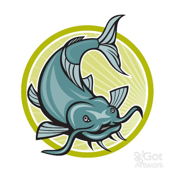 Catfish Attacking Circle Cartoon