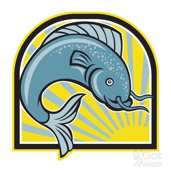 Catfish Jumping Sunburst Cartoon