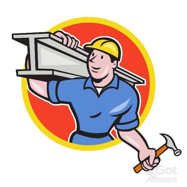 Construction Steel Worker Carry I-Beam Circle Cartoon