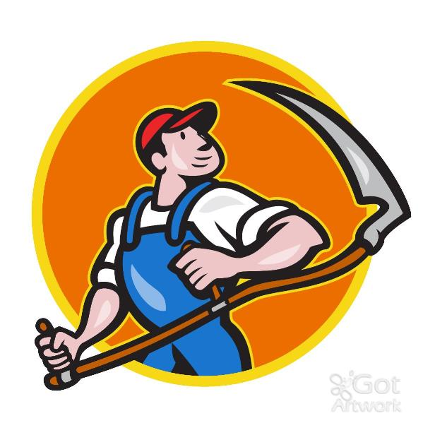 Farmer Worker Holding Scythe Circle Cartoon