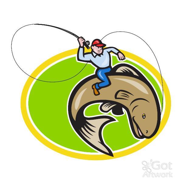Fly Fisherman Riding Trout Fish Cartoon