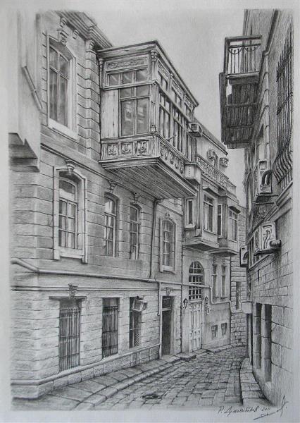Icheri Sheher Drawing By Rauf Janibekov Gotartwork Com