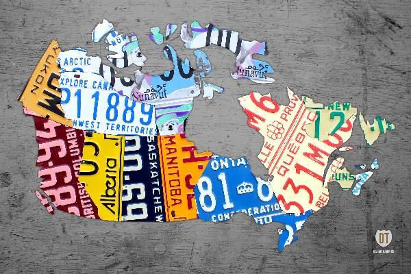 Canada License Plate Map On Gray Mixed Media By Design Turnpike ...