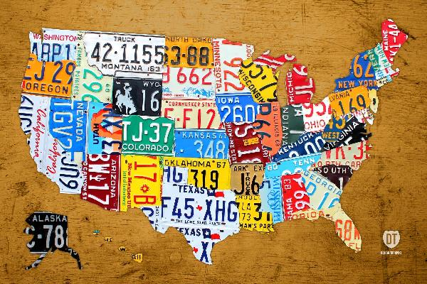 License Plate Map Of The USA On Vintage Burnt Orange Wood Slab Mixed