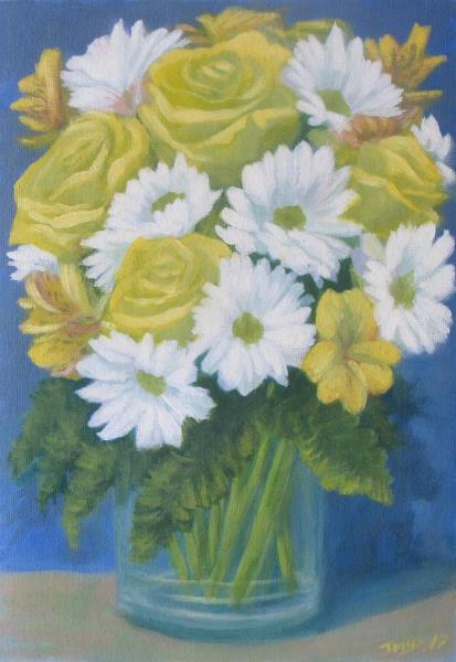 Still Life Yellow Roses White Daisies