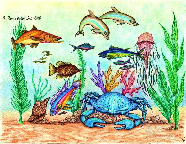 Beneath The Sea Full Version Original Full Color Mixed Media Drawing
