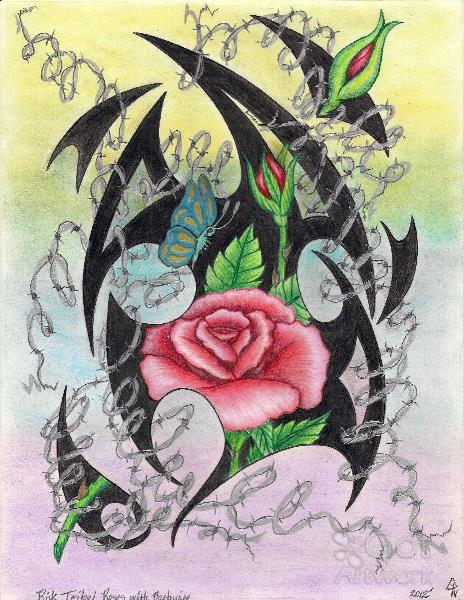 Pink Tribal Roses And Barbwire Original Drawing Drawing By Gene ...