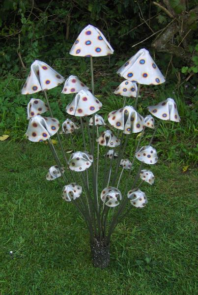 Metal Mushrooms -Stanger Moore Sculpture-Large Spotted Fungi