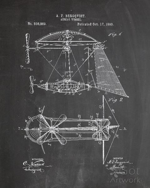 steampunk airship patent chalk drawing by industrial prints rh gotartwork com