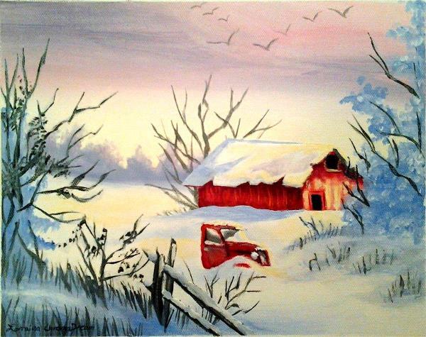 Christmas Barn And Truck