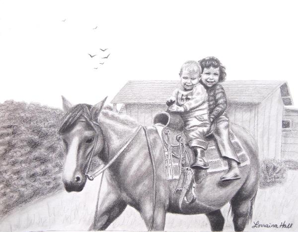 Two Children On Horseback 1943