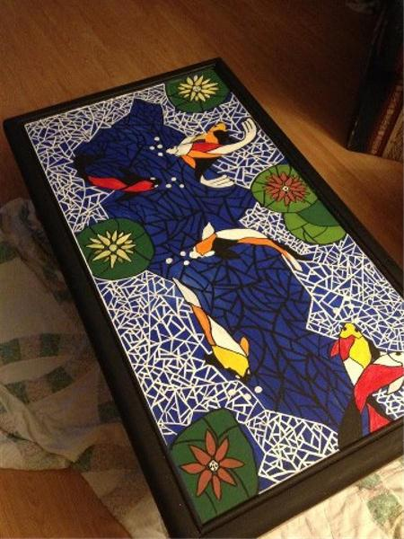 Koi fish pond painting by rachel olynuk for Koi fish pool table