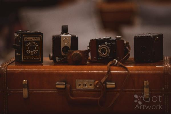 Four Vintage Cameras And A Suitcase
