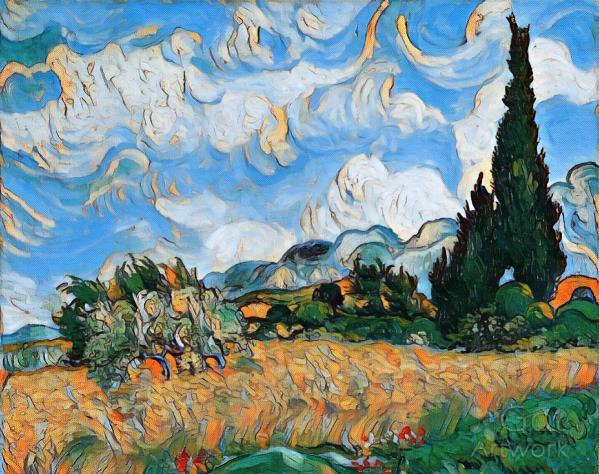 Wheat Field With Cypress View 1