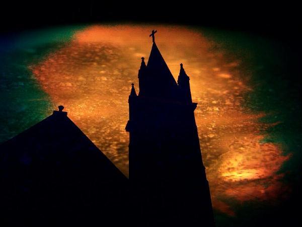 Church Under Film Burnt Sky