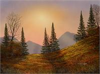 Alpine Sunset As Greeting Card