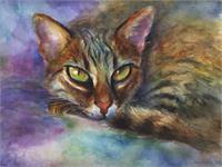 Vibrant Bengal Cat Impressionistic Watercolor Painting Svetlana Novikova