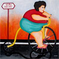 Big Cycle Lady As Framed Poster