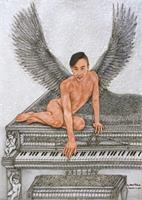 Angel And The Piano As Greeting Card