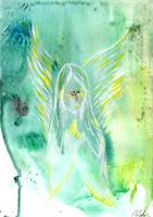Angel Praying Original Acrylic Green Painting White Guardian Angel Pray
