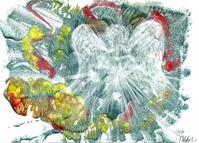 Flying White Angel, Original Acrylic Painting, Autumn Landscape, Guardian Angel
