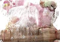 Acrylic Painting, Flying White Angel, Pink Aura, Guardian Angel, Magic Landscape