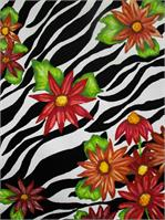 Floral Zebra Print As Greeting Card