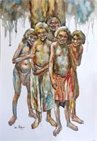 Koori Kids As Framed Poster