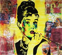 "ART Portrait Audrey HEPBURN Coca-Cola Mixed Media On Panel Acrylic Painting Black & Colors Collections Modern 30""x36"" By Kathleen Artist PRO"