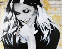 "ART Celine DION Portrait Contemporary Mixed Media On Canvas Acrylic Painting Black Art Collections Modern 22""x28"" By Kathleen Artist PRO"