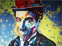"ART Charlie CHAPLIN Portrait Acrylic Painting On Canvas Colors Modern Contemporary 36""x48"" ORIGINAL Ready To Hang By Kathleen Artist Pro"