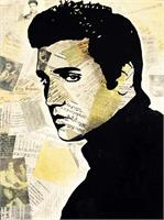 "ART Elvis PRESLEY Portrait Contemporary Mixed Media On Canvas Acrylic Painting Black Art Collections Modern 22""x28"" By Kathleen Artist PRO"