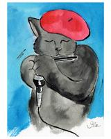 Cool Cat, Hot Harp As Greeting Card