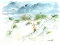 Sand Dunes Beach Painting Print