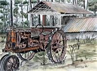 Farm Tractor Folk Art Print